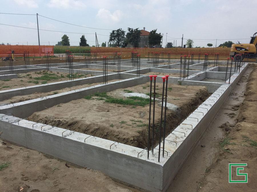 Getto delle Fondazioni Bifamiliare Candiana Demolizione e nuova costruzione a cura dello studio tecnico geometra Schiavon