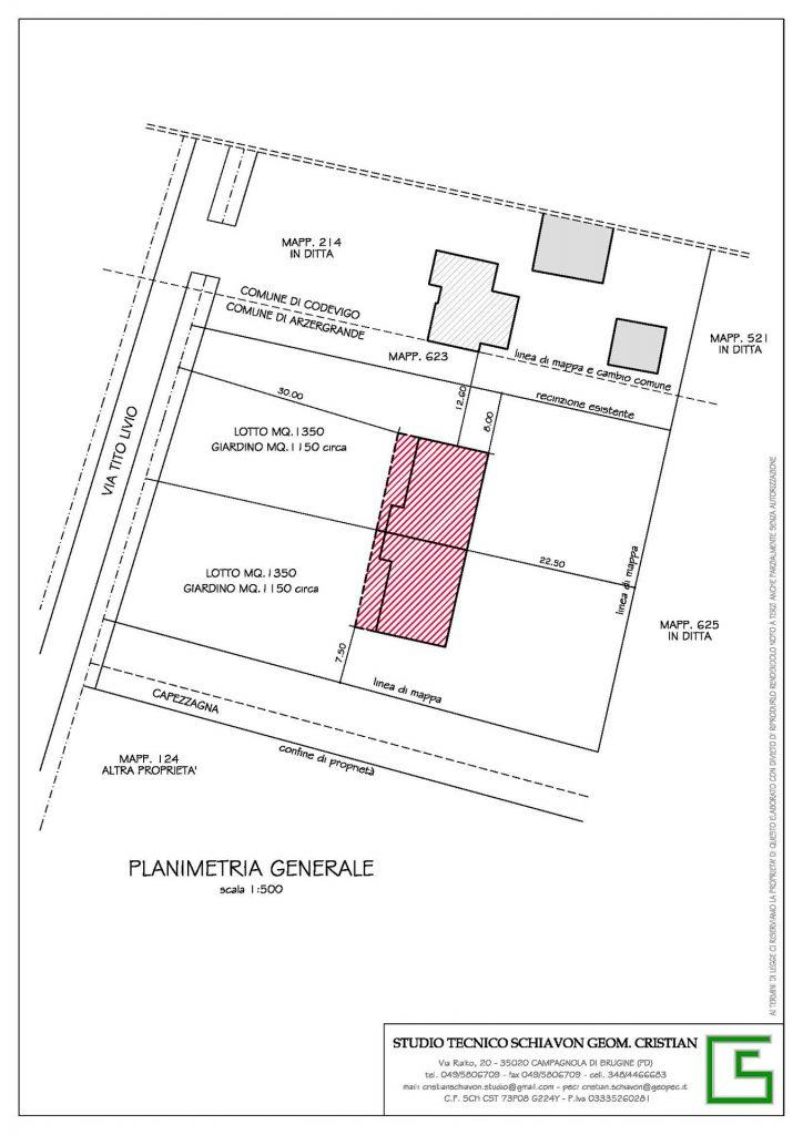 Planimetria generale Bifamiliare Vallonga Arzegrande da realizzare offerte dello Studio Tecnico Geometra Schiavon Piove di Sacco