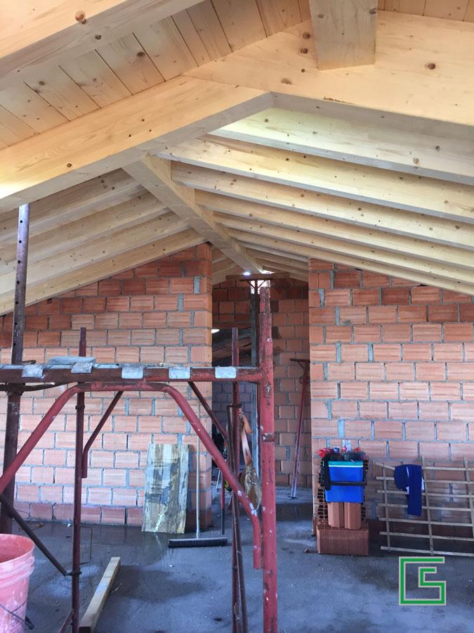 Tetto in legno Bifamiliare Bovolenta Nuova costruzione a cura dello studio tecnico geometra Schiavon